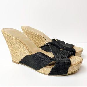 Aldo Cross Strap Woven Sandal Wedges Black